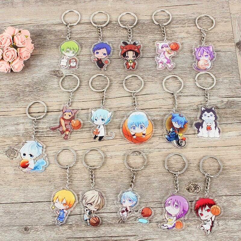 1pcs 17styles Anime Keychain kuroko no basket Kagami Taiga Shintaro Daiki High School Doubleside Pendant Portachiavi Keyrings