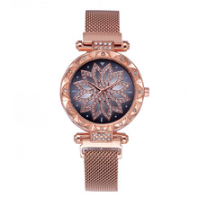 Luxury Diamond Rose Gold Women Magnet Watch Lucky Flower New Female Clock Ladies Stainless Steel Quartz xfcs