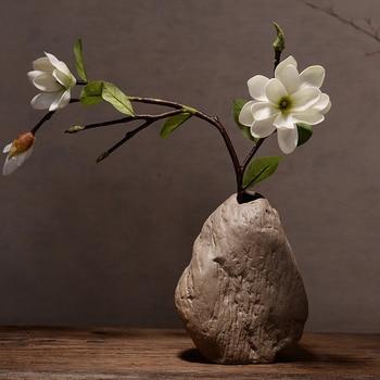 Antique stone Ceramic flower plug Simulation floral Stoneware stone flower Zen vintage Hydroponic pot Ornaments Home Decorations