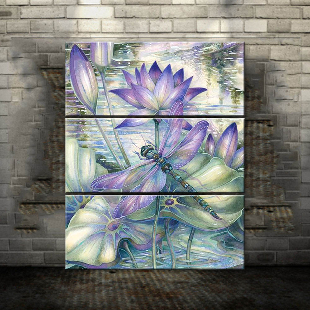 3pcs retro watercolor lotus flower diy paintings dragonfly wall art 3pcs retro watercolor lotus flower diy paintings dragonfly wall art on canvas painting home wall decor poster artwork no frame in painting calligraphy izmirmasajfo