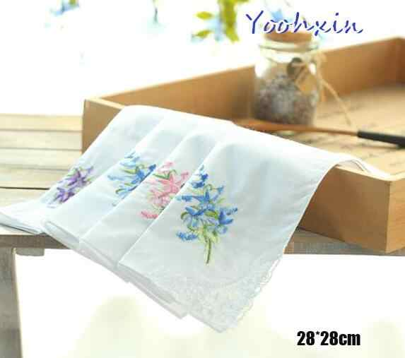 1pcs 28CM High quality Cotton white lace embroidery square Handkerchief women hanky Children towel wedding party Christmas gift