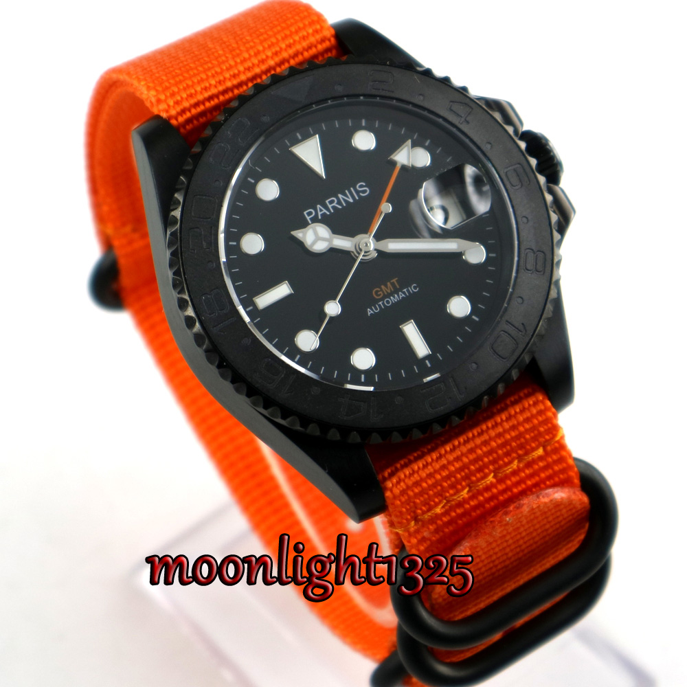 Parnis 40mm balck dial Nylon strap Black PVD case GMT sapphire glass Automatic men's watch 40mm parnis black dial pvd gmt sub sapphire glass automatic mens watch