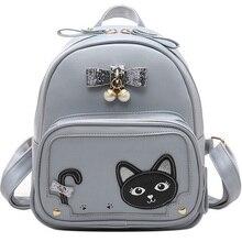 Милый Кот в форме сердца с заклепками рюкзак случайные опрятный кожаные черные Рюкзаки с жемчужным бантом Обувь для девочек школьная Сумки Mujer 2017 Лидер продаж XA74B