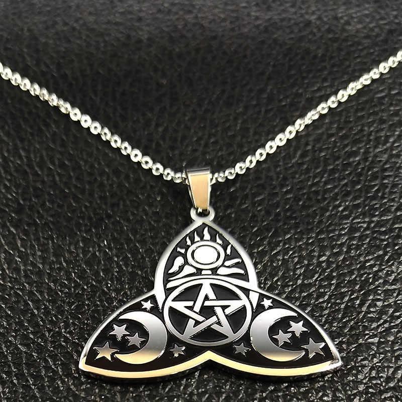 2019 Fashion Wicca Sun Star Moon Stainless Steel Kalung untuk Wanita Warna Perak Rantai Kalung Perhiasan Collier Femme N186713