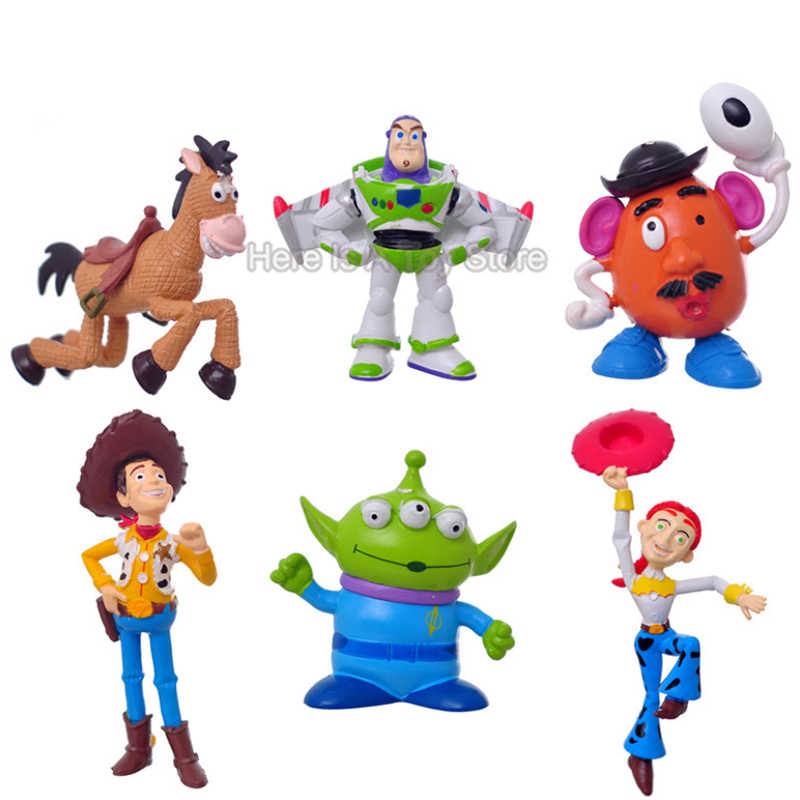 6pcs Disney Toy Story 4 Woody Buzz Jessie Dinosaur cartoon Anime Figure Woody PVC Action Figure Kids Toys for Children DS33