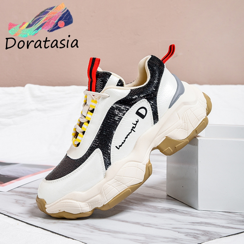 DORATASIA New Arrivals 2019 High Quality Hot INS Shoes Woman Sneakers Lace Up Flat Platform 4