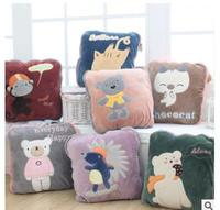cartoon embroidered cushion blanket multifuctioncal throw pillow blanket travel car backrest