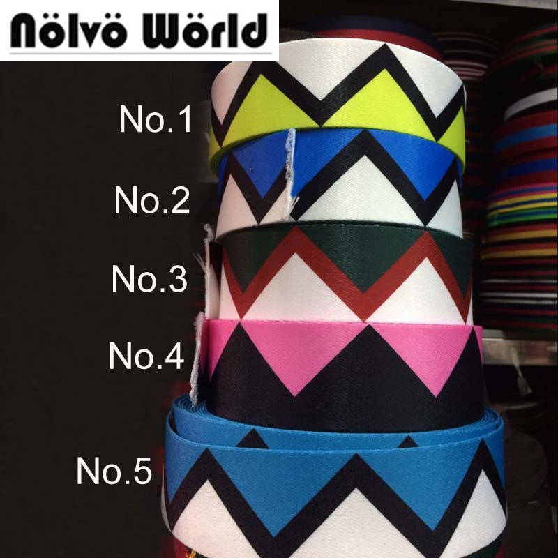 50mm 2 wide 1.55mm newest double face same fashion colorful wave nylon ribbon for bag handbag shoulder straps waistband webbing