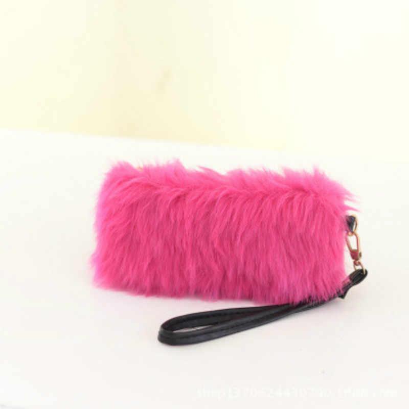2018 yeni Moda kadın cüzdan çanta telefon çanta peluş lüks siyah ünlü marka çanta bayan debriyaj tasarımcı mochila dolar