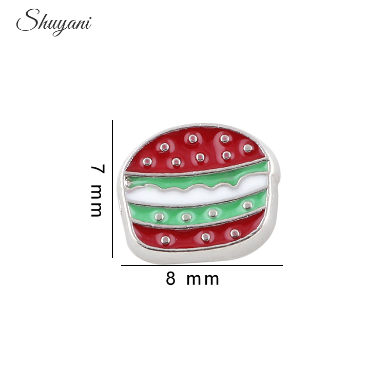 20Pcs/lot Fashion Enamel Food Hamburger Charms Fit Floating Glass Memory Locket DIY Accessories