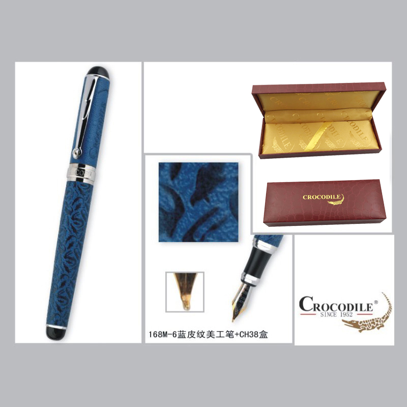 Crocodile 168 Blue Crocodile Leather and Silver Clip 0.8mm Curved Tip Calligraphy Pen Luxury Metal Painting Pens Free Shipping crocodile crocodile cr578f black silver