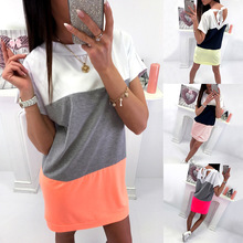 Women Casual Loose Dress Patchwork Short Sleeve Solid Boho S