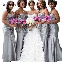 Серебристые атласные длинные платья подружки невесты вырез сердечком Плиссированное Платье футляр для свадебной вечеринки для девочек пр