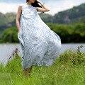 SCUWLINEN Vestidos 2017 Лето Dress Рукавов Симпатичные Поддельные Две Пьесы Женщины Платья Свободный Белый Fairy Long Maxi Dress S70-1