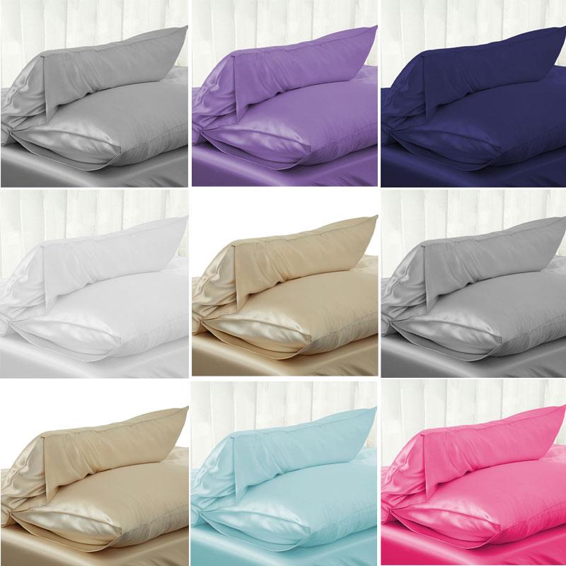 New Solid Queen//Standard Silk Satin Pillow Case Bedding Pillowcase Smooth Home