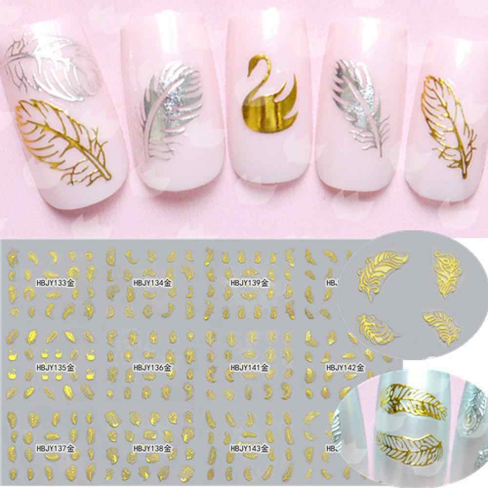 Hot Sale 2 Pcs Beautiful White Feather Swan Nail Art Decal Stickers Fashion Tips Decoration For Women Girls Nail Art Tools