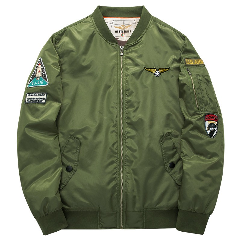 Army Green Military motorcycle Ma-1 aviator pilot Air men bomber jacket 35