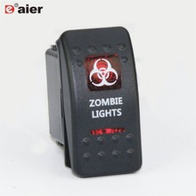 1PC 20A 12V/24V SPST 5 Pin ON-OFF Plastic Automotive Dual Red LED Illuminated Rocker Waterproof Marine Switch