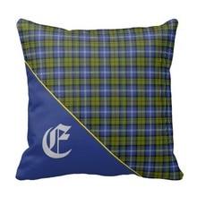 Sick Stylish Scottish Estes Clan font b Tartan b font Monogram Throw Cushion Cover Size 45x45cm
