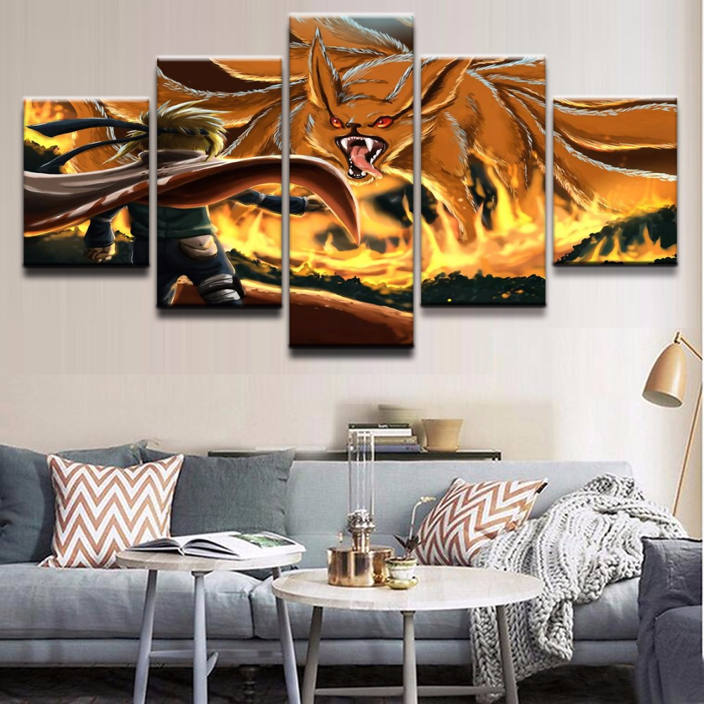 Us 10 2 49 Off Art Modular Wall Painting Home Decor 5 Panel Kurama Naruto Uzumaki Nine Tails Posters Frame Kids Room Hd Printed Modern Picture In