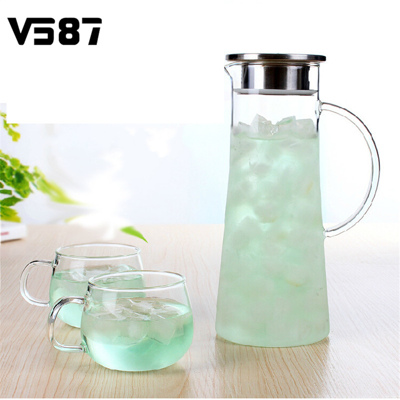 1800ml Glass Kettle Big Outlet Water Jug Heat Resistant Transparent Teapot Stainless Steel Strainer Juice Flower