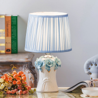 Modern Simple Korean Princesses Blue Warm Ceramic Table Lamps For Bedroom Bedside European Style Fashion Marriage