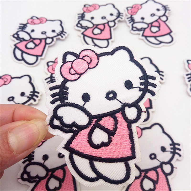 5ae2206ec 10Pcs Hello Kitty Patches Badges Cartoon Cat Icon Iron On Patches Kids DIY  Cute Sewing Embroidered
