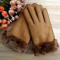 2016 mujeres calientes de invierno guantes de cuero Genuino guantes de piel de Oveja de piel caliente gruesa guantes manoplas mujeres