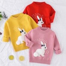 2019 冬秋の幼児の女の子セーター長袖暖かい女セーター子供服ガールズプルオーバーセータートップ 2 4 年ウサギ