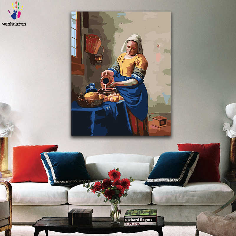 DIY colorings pictures by numbers with colors The Milkmaid Jan Vermeer picture drawing painting by numbers framed Home