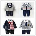 High Quality Cotton Gentle Man Boys Romper  Set Polka Dots Stripe Bebe Boys Newborn Kids Autumn Clothing Set