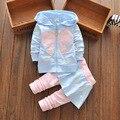 Calor! 2016 nueva primavera otoño trajes de los bebés dress trajes de algodón ropa de los niños del arco de la chaqueta + pantalones 2 unids/set envío gratis