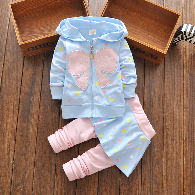 heat! 2016 new spring autumn suits baby girls dress suits cotton children's clothes bow jacket + pants 2pcs/sets Free shipping