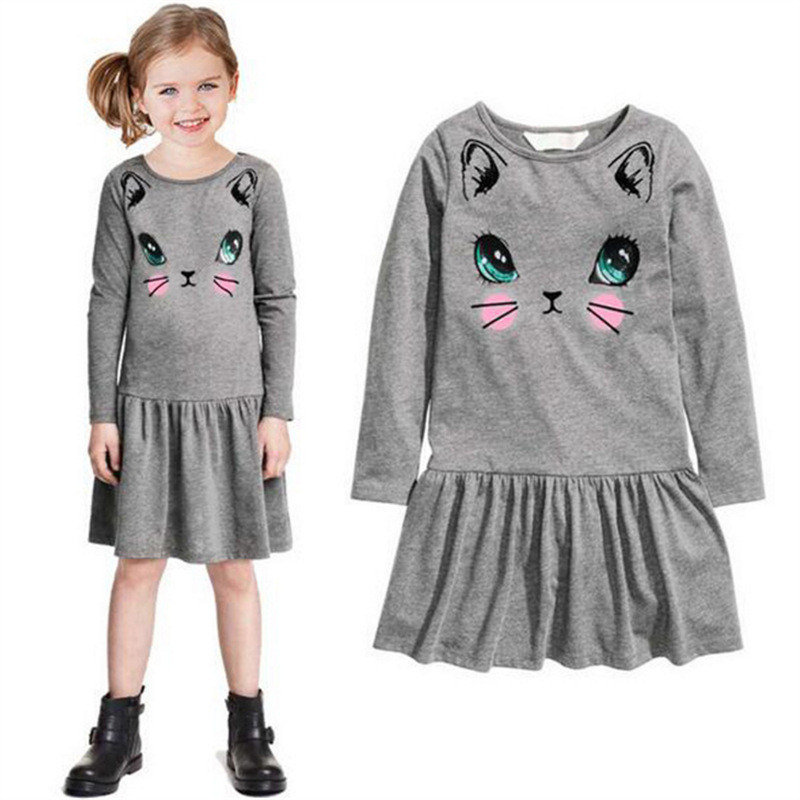 Lollas Princess Girls Dress Cute Cat Print Long Sleeve Dress Cartoon Cotton Party Dresses Fashion Children Clothing For Girls