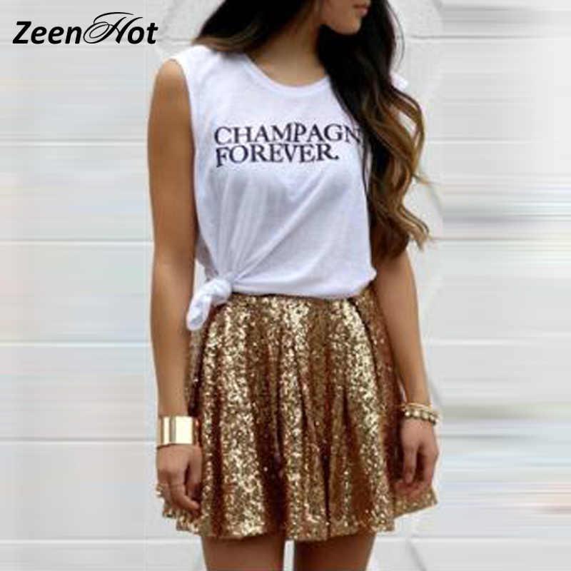 724b106a1 Falda plisada de lentejuelas doradas mujeres 2018 nuevo estilo de ...