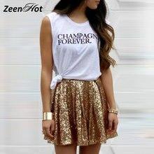 Gold Sequins Pleated Skirt Women 2018 New Summer Style Mini High Waist Skirt  Female Casual Elegant Mini Skirts acc58752a96f