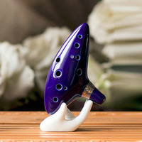 New Arrival 12 Hole Ocarina Ceramic Alto C Legend Of Zelda Ocarina Flute Blue Instrument Free