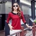 Primavera 2017 Mujeres Camiseta Ocasional Coreano Tops de Manga Larga Camiseta Golpe Del Color Del Remiendo camisa Femenina V-cuello Delgado Camisetas Para mujeres