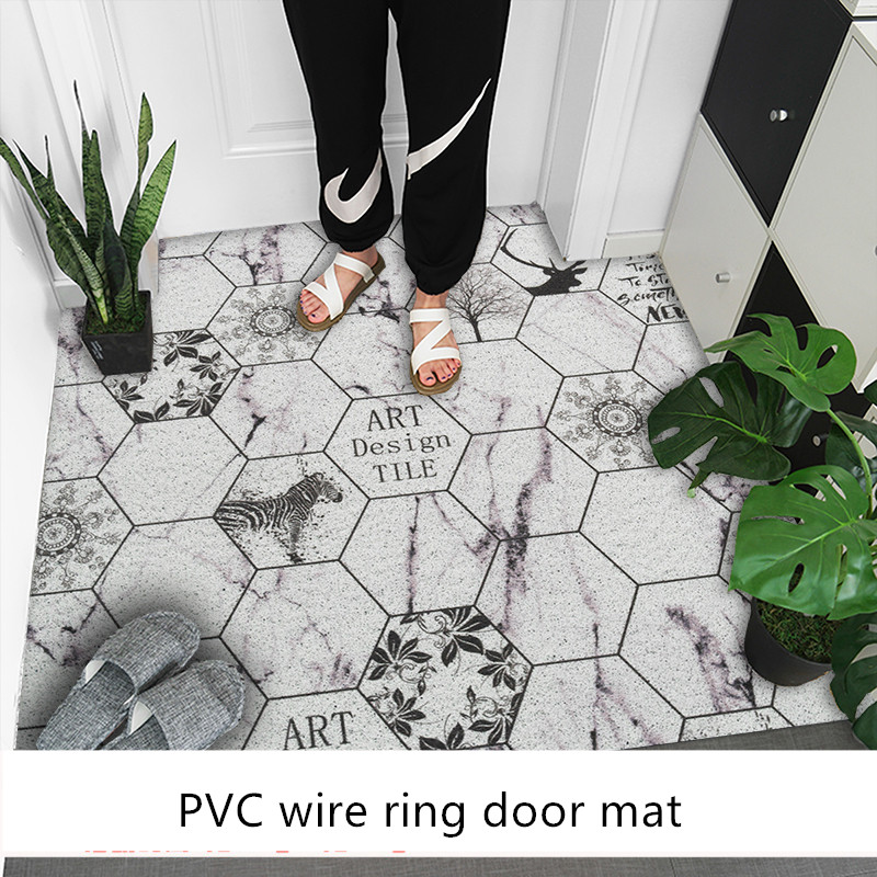 Plastic Pvc Wire Loop Carpet Nordic Ins Style Entry Door Mat Home Door Anti-slip Mat Customization Geometric Tile Pattern Rug Home & Garden