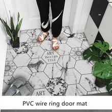 Plastic PVC Wire loop carpet Nordic ins style entry door mat Home door Anti-slip mat customization Geometric tile pattern rug pebble series flannel printing home anti slip absorbent entry mat bathroom mat door mat bedside mat