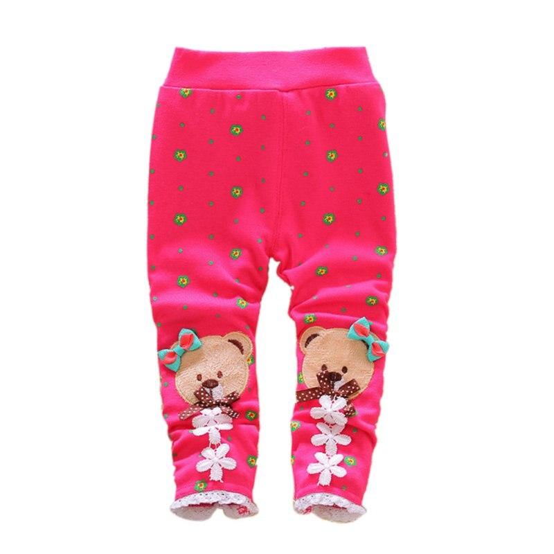 Baby Kids Girl Toddler Cartoon Trousers Thick Fleece Pants Winter Lined Leggings
