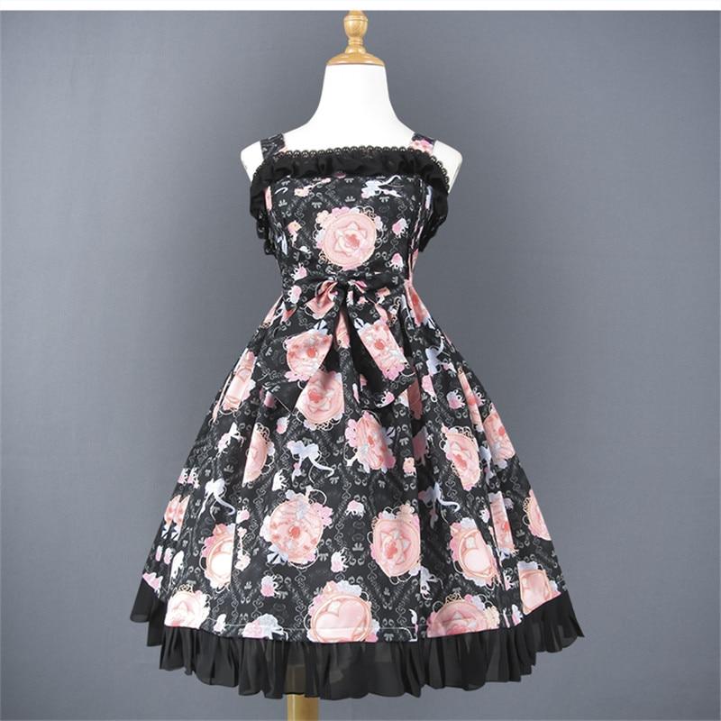Lolita Jumper Jupe Bretelles Noir Amant Cristal Fleur Noeud Lolita JSK Robe
