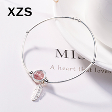 100% Genuine S925 Sterling Silver Chinese Style Strawberry Quartz Bracelet Women Luxury Valentines Day Gift Jewelry SLCN-18002