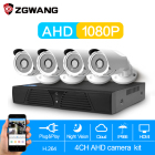 ZGWANG 4CH CCTV Security Camera System Kit 1080P HDMI AHD CCTV DVR 4PCS 2.0 MP IR Outdoor Cameras System Surveillance Kit