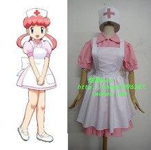 Pokemon pocket monsters alegría de la enfermera cosplay dress + delantal + hat