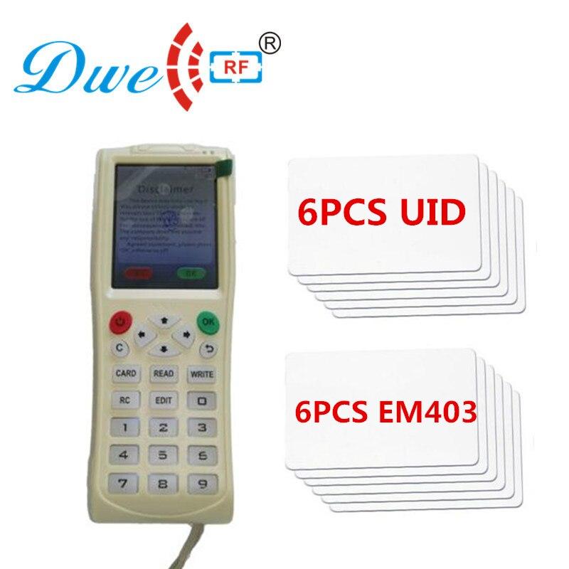 125 khz 13.56 mhz nfc duplicateur clé rf-id clé clonage copie carte à puce lecteur écrivain avec 6 cartes UID et 6 EM4305 cartes livraison