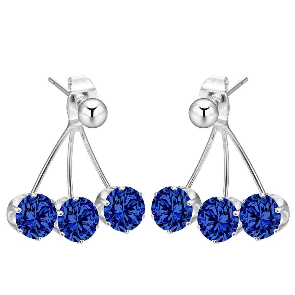 Marca de joyería de lujo juegos de cristales bonitos 2 uds con rosa azul verde blanco cz gema moda Color plata pendientes de tuerca para las mujeres
