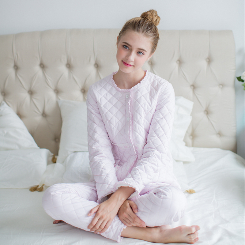 7007d736c Winter Pajamas Women Cotton Pajamas suit Home clothing Long sleeves Pyjamas  Woman Fashion Casual Sleepwear set High quality-in Pajama Sets from Women s  ...