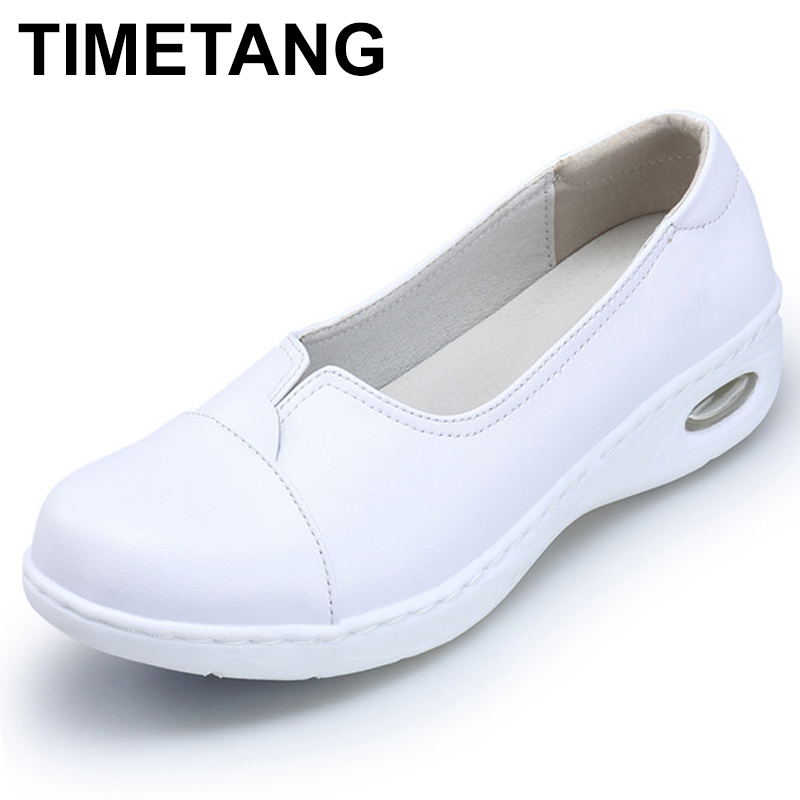 TIMETANG Four Seasons Woman white Nurse shoes women Platform soft Comfortable Air cushion casual genuine leather Antiskid C204 yafei 10 speed heating dildo rabbit vibrator silicone dual g spot vibrator massager vibrador clitoris eroticos sex toy for women