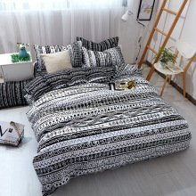 Three or four sets of wavy geometric stripes imitating cotton reactive printing king size bedding set  3&4 pcs